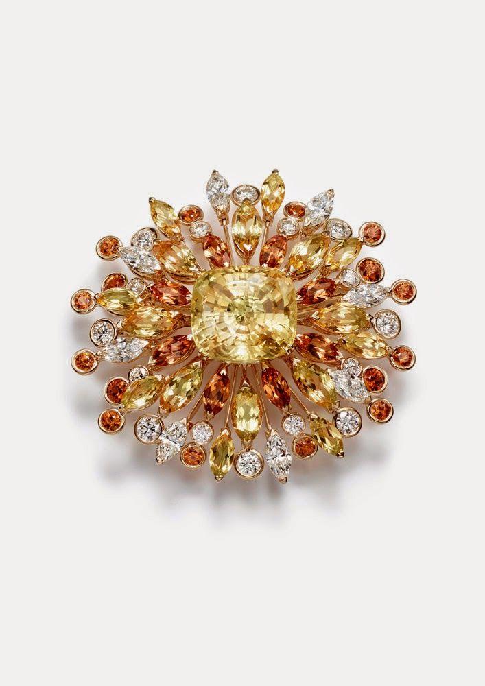 Sapphire,diamond, garnet,and yellow beryl brooch - by Piaget