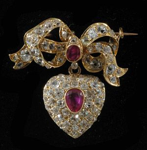 Victorian gold bow and heart brooch 1880