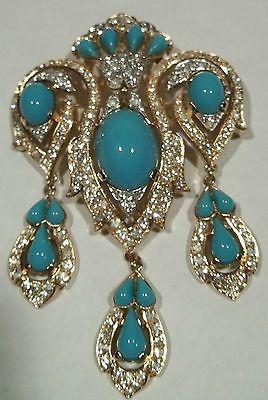 Vintage Trifari Jewels Of India Brooch Pin MASSIVE Rhinestone Dangles A Philippe
