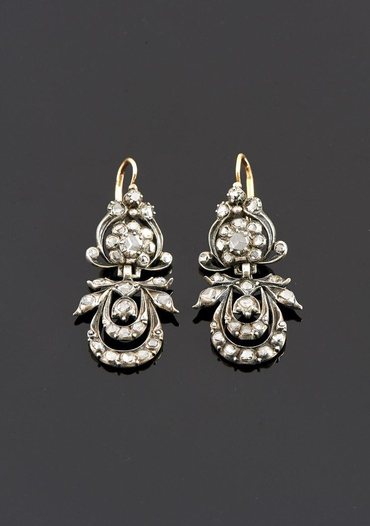 1950s portuguese silver and gold diamond earrings  |♦F&I♦
