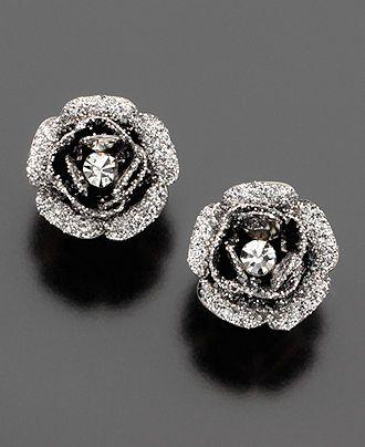 Betsey Johnson Earrings, Rose Bud Stud - Fashion Jewelry - Jewelry & Watches - M...
