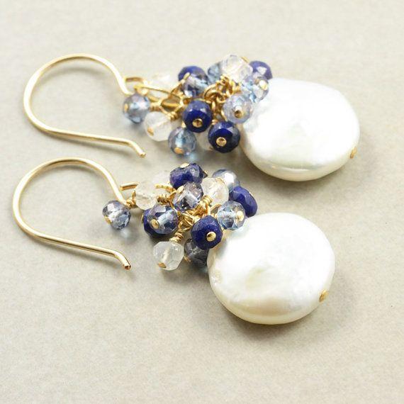 Coin Pearl Dangle Earrings, Sapphire Pearl Earrings | ♦F&I♦