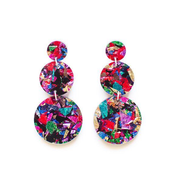 Fireworks Triple Drops   Laser Cut Drop Earrings  by EachToOwn |♦F&I♦