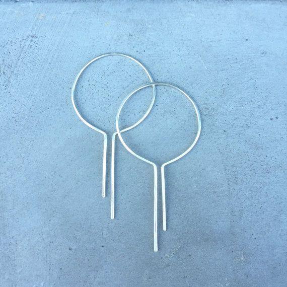 Geometric hoop earrings unique hoop by HartmannJewelryWorks