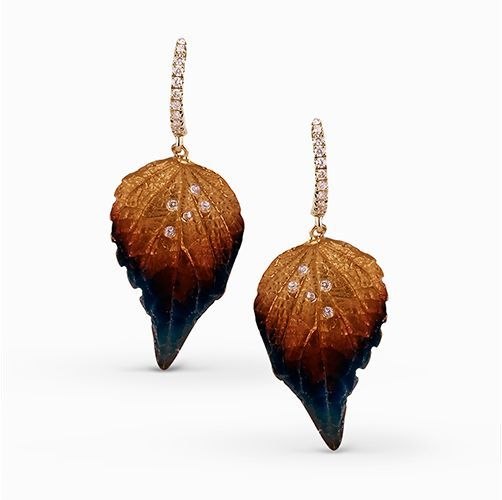 Gorgeous autumnal colors light up these earrings, which contain .19 ctw of diamo...