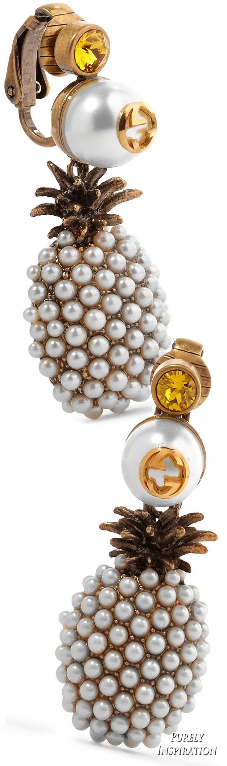 Gucci Gold-plated, faux pearl and crystal clip earrings  | ♦F&I♦