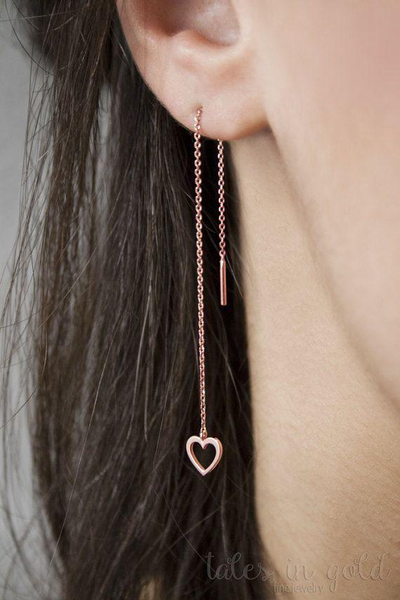 Heart Earrings Long Earrings Gold Earrings Threader by TalesInGold