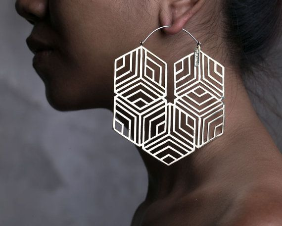 Hexagonal Hoop Earring Big Hoops Big Earrings by eleven44jewelry