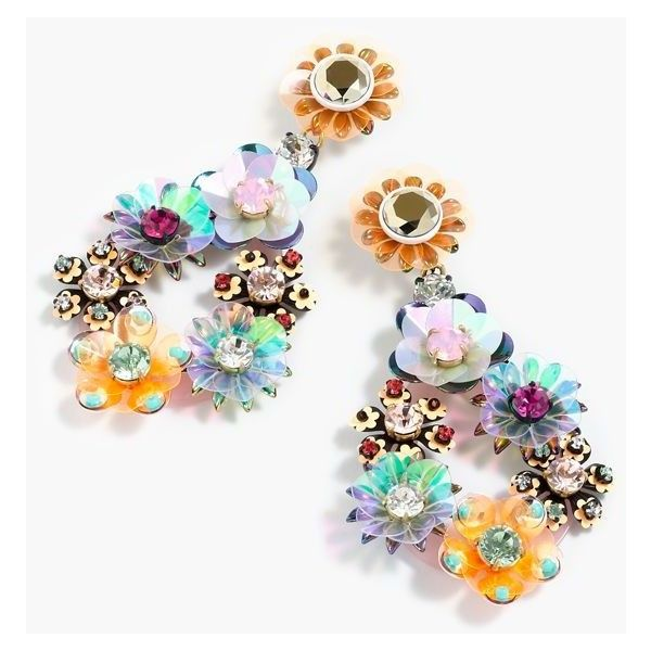 J.Crew Sequin And Crystal Rose Earrings ($120) ❤ liked on Polyvore featuring j...