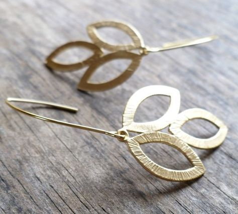 Leaves of Gold Earrings by moderntrinkets on Etsy, $18.00