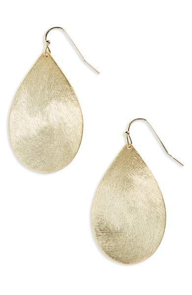 Main Image - Halogen® Large Brushed Teardrop Earrings