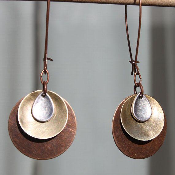 Mixed Metal Earrings Boho Earrings Bohemian Earrings Copper Earrings Brass Earri...