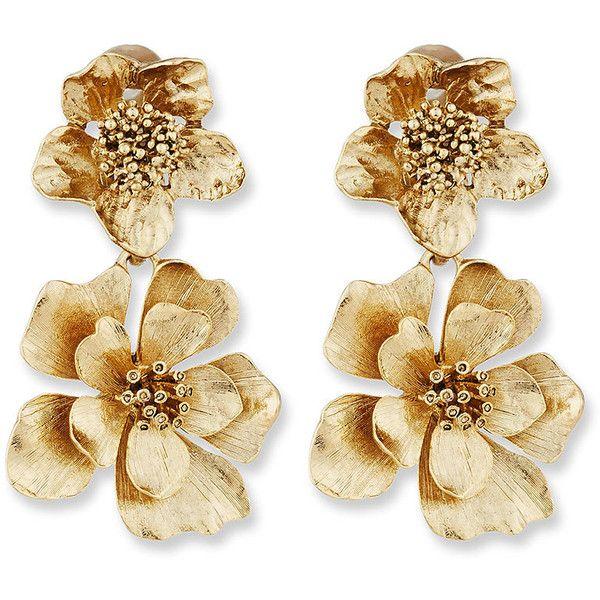 Oscar De La Renta Bold Flower Drop Earrings (325 AUD) ❤ liked on Polyvore feat...