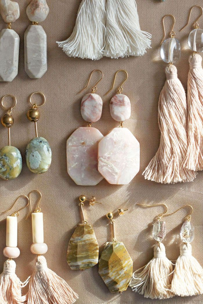 Peruvian opal, quartz and marble earrings by the vamoose |♦F&I♦