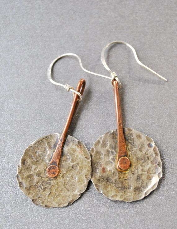 Rustic mixed metal earrings are handcrafted from silver nickel sheet metal and c...
