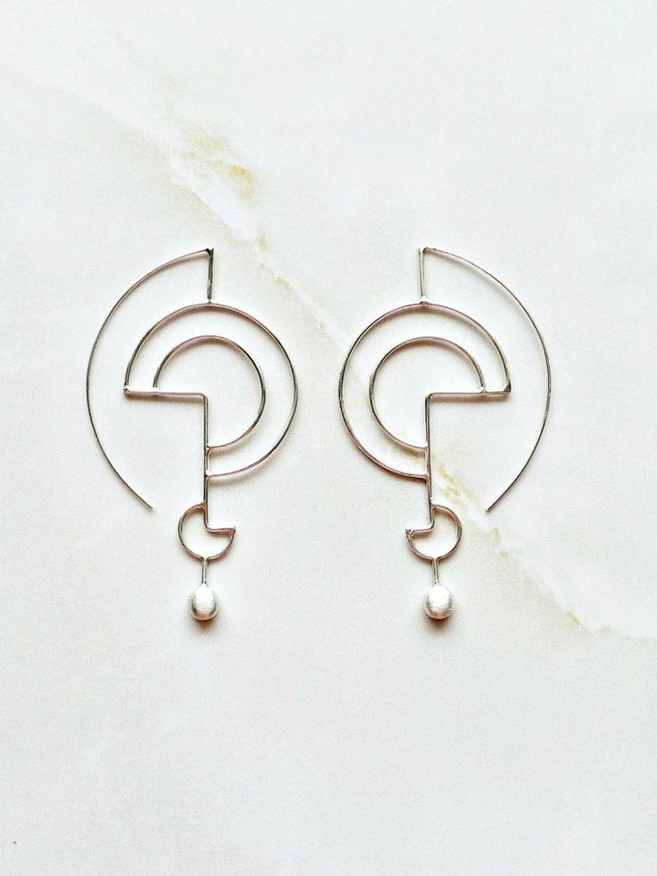 Silver Geometric Earrings Sculpted Organic Silver Earrings Modern Earrings Inspi...