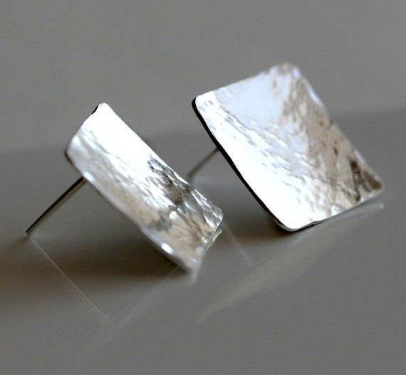 Silver Square Stud Earrings Silver Modern by CoriluDesigns