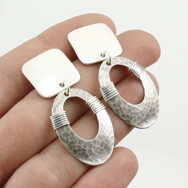 Square with Wire-Wrapped Oval Ring Earring | Marjorie Baer Accessories