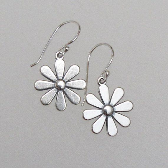Sterling Silver Daisy Flower Earrings by DJStrang on Etsy, $29.00