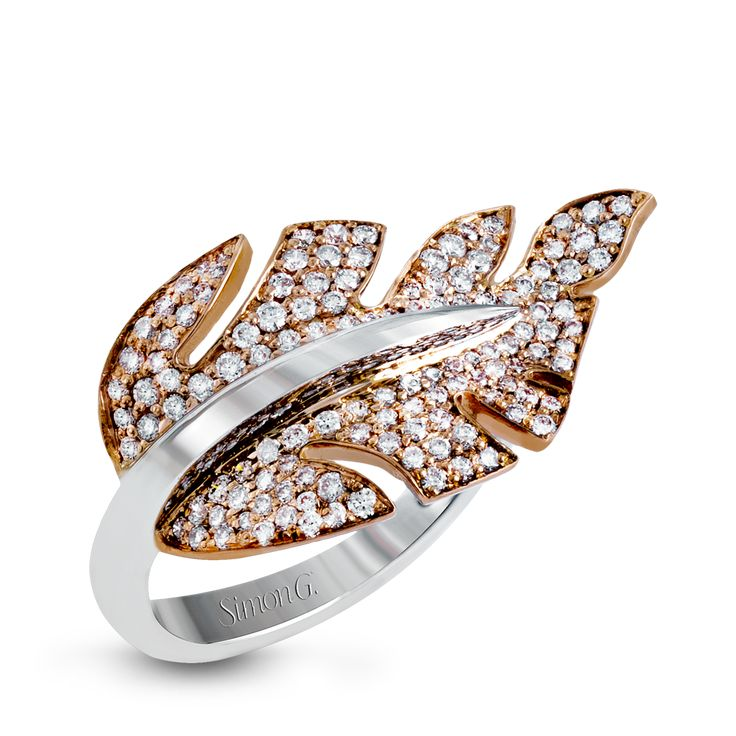 This lovely nature-inspired design is crafted from 18k rose and white gold, and ...