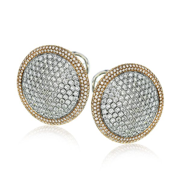 This round two-tone 18k gold earrings add a healthy dose of sparkle with 4.60 ct...