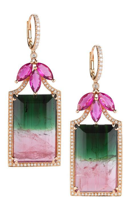 Watermelon Tourmaline, Rubellite, Gold And Diamond Earrings