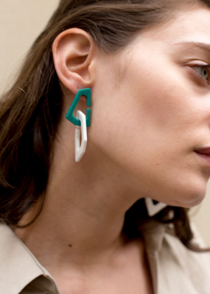 #newarrivals #teal #white #abstract #link #Earrings #accessories thefrankieshop ...