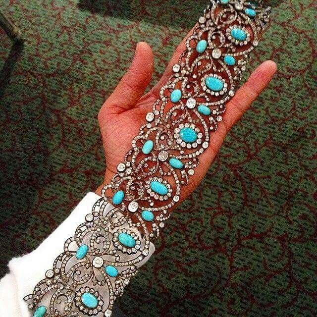 @fd_gallery An Antique Turquoise and Diamond Foliate and Floral Choker, c. late ...