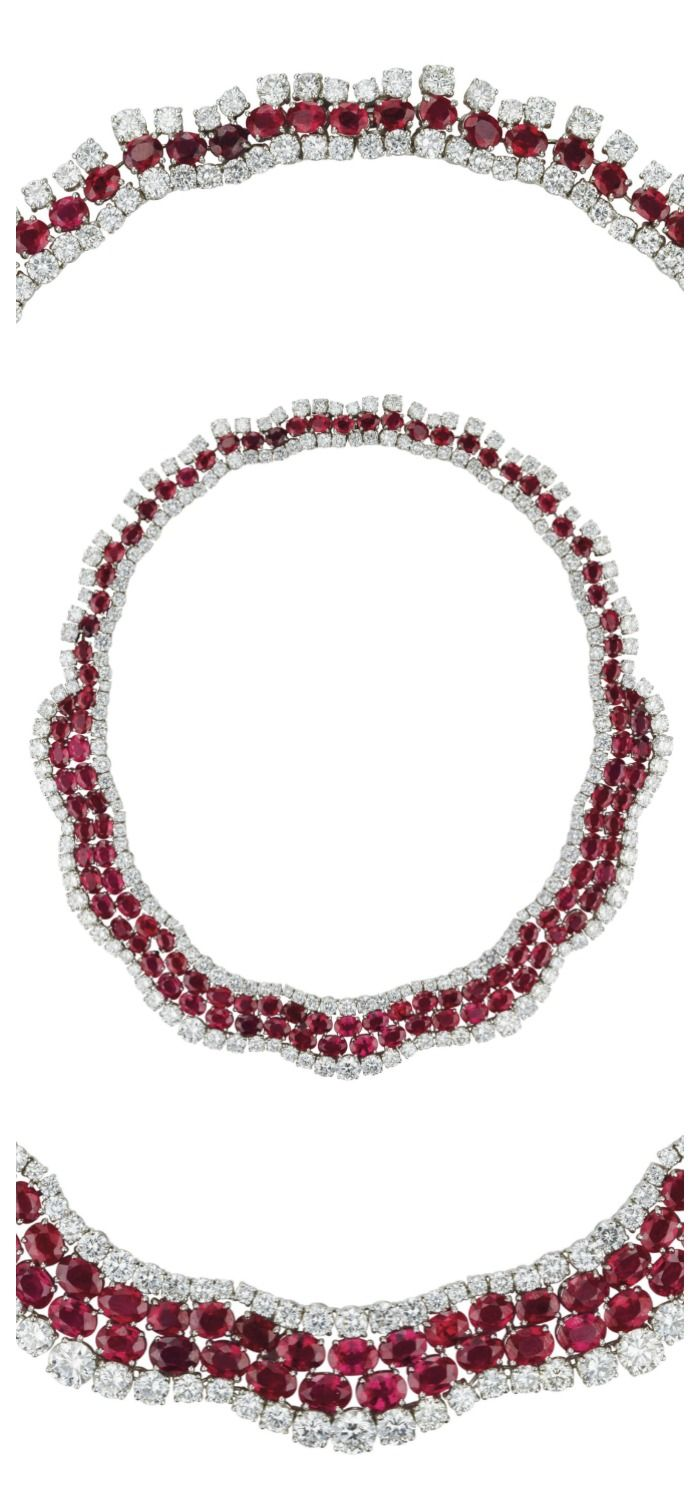 A Burma Ruby and Diamond Necklace:  Designed as a graduated line of oval and pea...