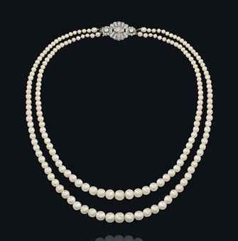 A NATURAL PEARL AND DIAMOND NECKLACE Composed of two rows of ninety-five and eig...