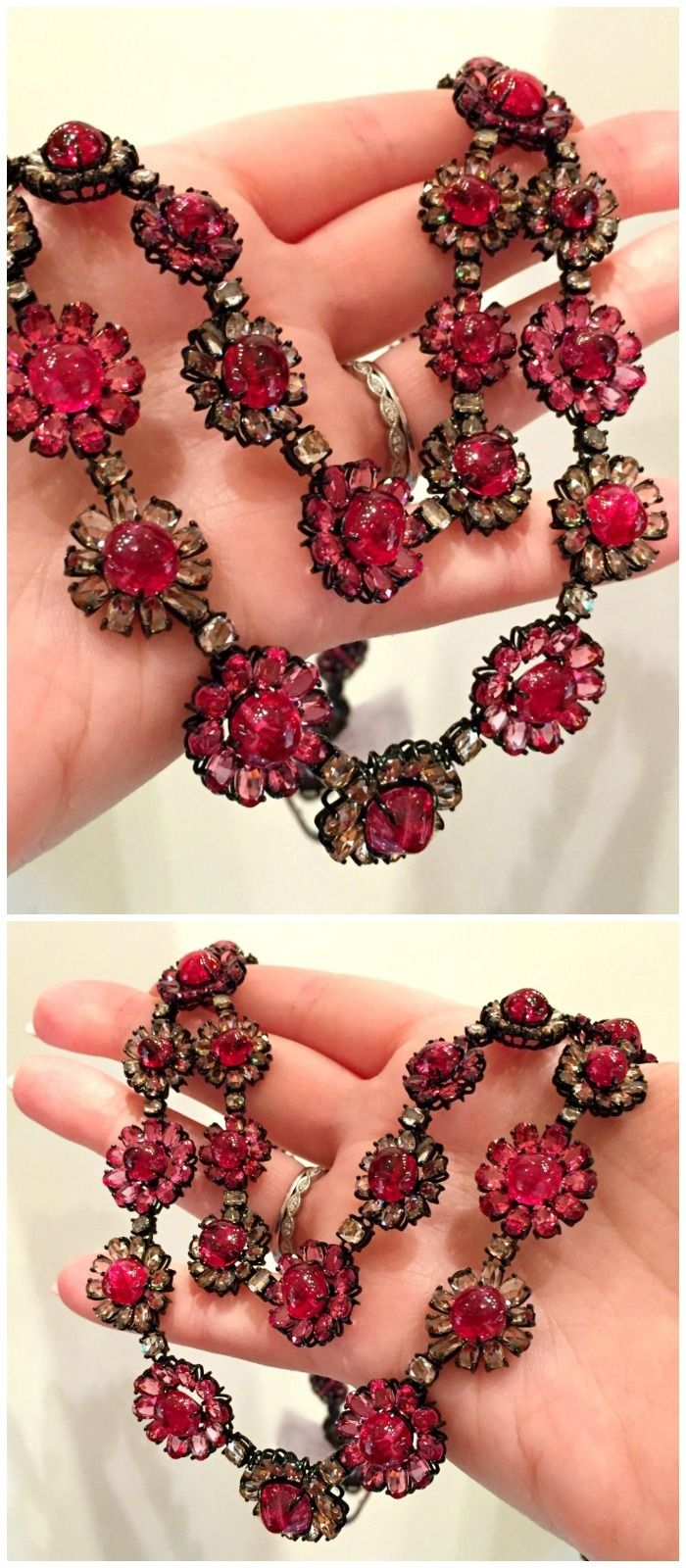 A beautiful diamond and red spinel flower necklace from Sutra.