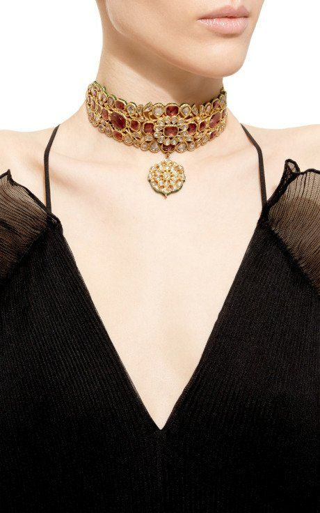 A diamond, tourmaline, and gold collar necklace with pendant, by Amrapali.