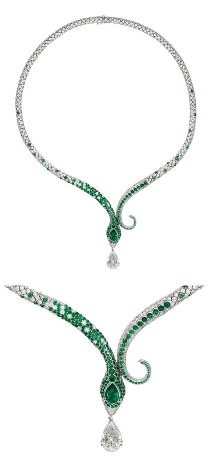 A glorious emerald and diamond snake necklace with a wonderful 1.96 carat Colomb...