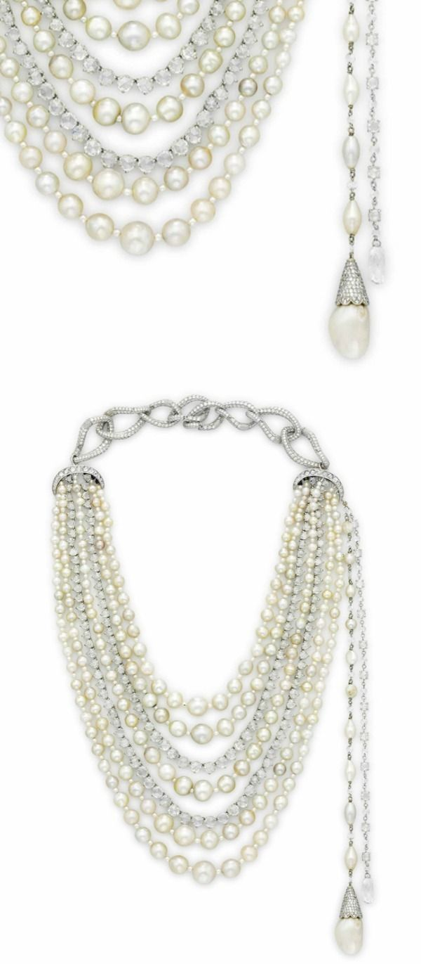 A glorious multi-strand natural pearl and diamond necklace: 216 natural pearls s...