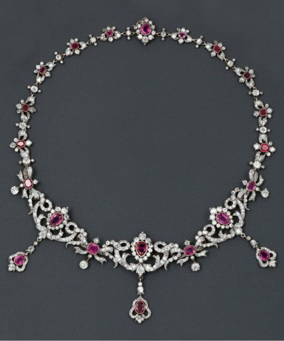 A gold, silver, diamond and ruby necklace, 19th century.