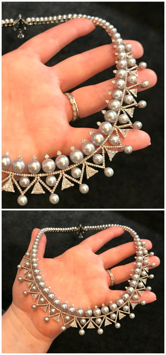A spectacular pearl and diamond necklace from Nikos Koulis' new Lingerie col...
