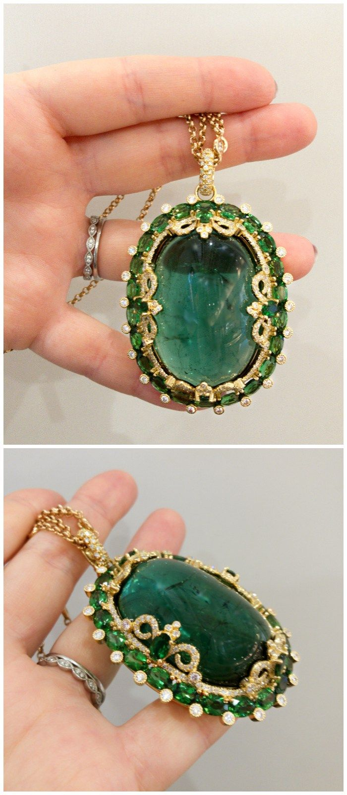 A stunning tourmaline cabochon pendant necklace by Erica Courtney.