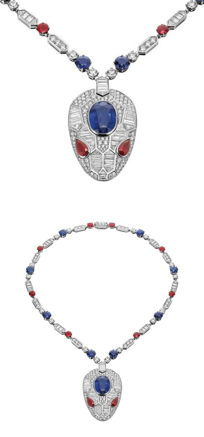A white gold, sapphire and ruby Serpenti pendant displays a geometric makeover o...