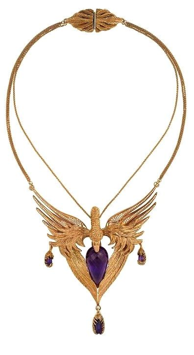 Amethyst, diamond and gold necklace.