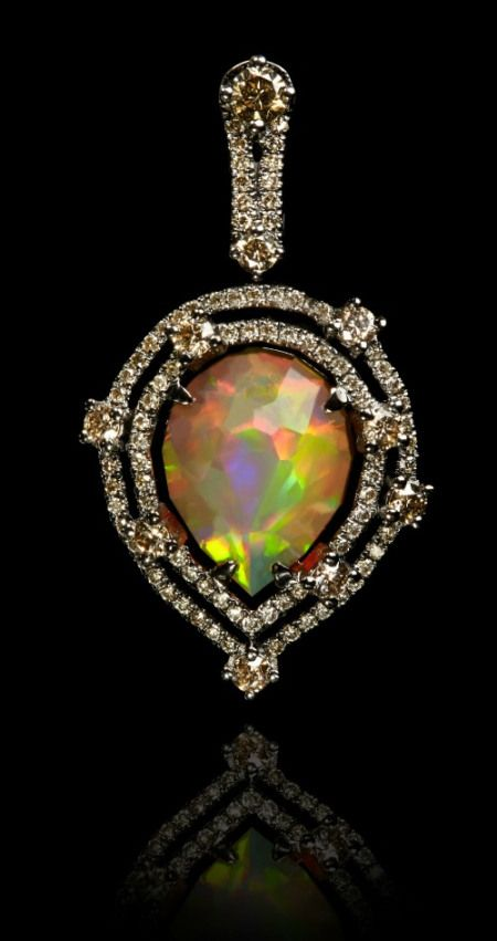 Annoushka Ethiopian opal pendant with a  2.41 carat opal set in white gold and b...
