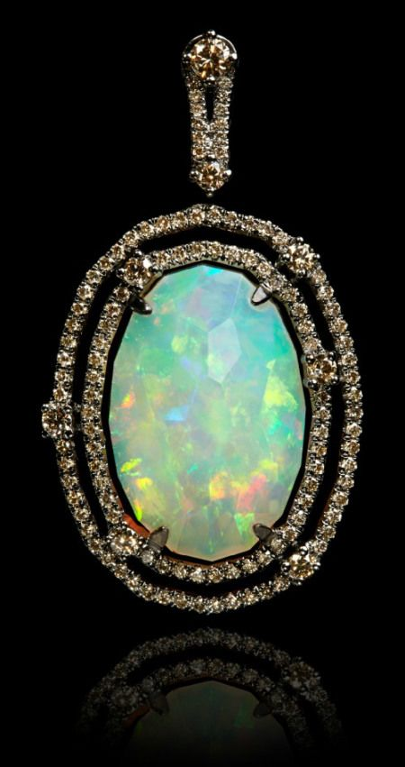 Annoushka Ethiopian opal pendant with a 8.37 carat opal set in white gold and bl...