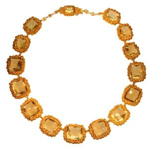 Citrine and gold necklace.
