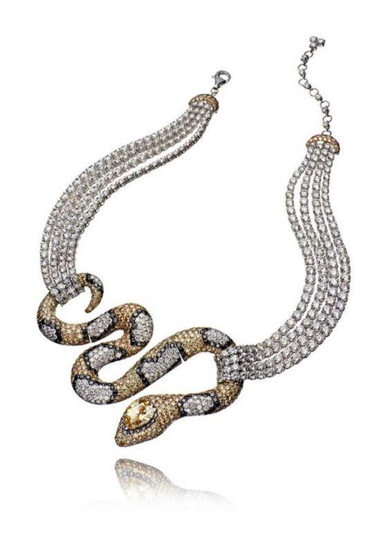 Diamond snake necklace.