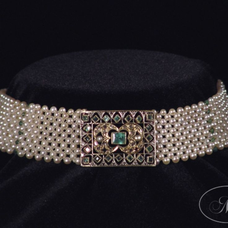 Emerald, pearl and gold collar.