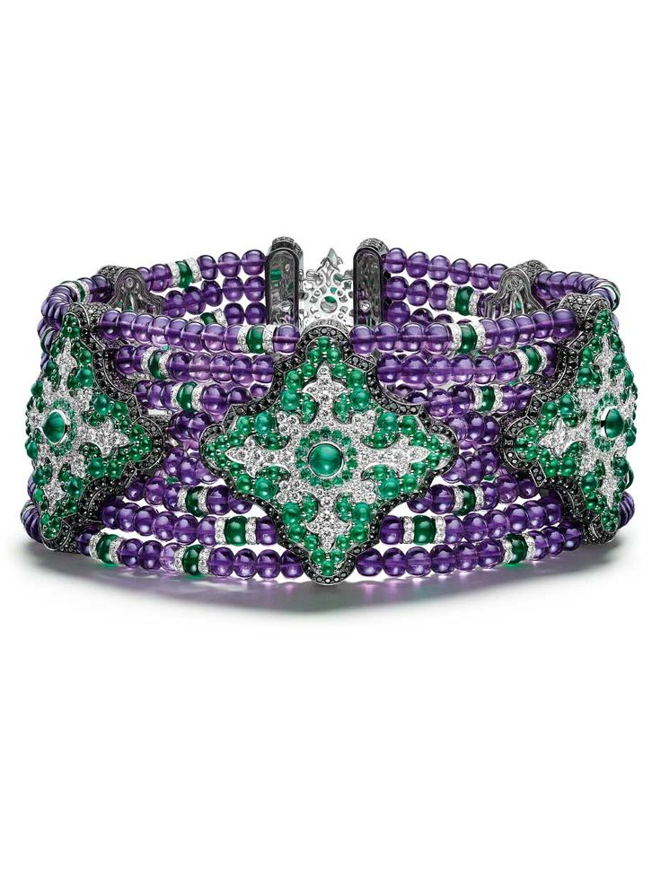 Emerald, sapphire and diamond collar.