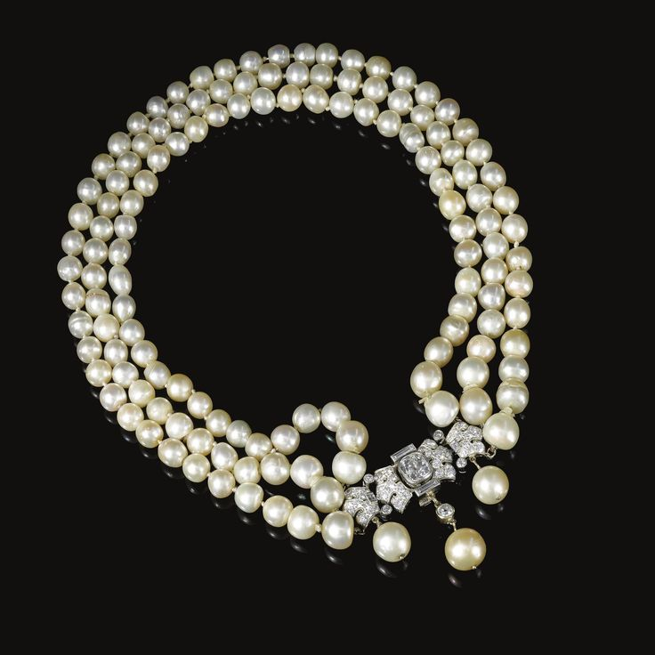 FORMERLY IN THE COLLECTION OF BARONESS DE RENZIS SONNINO. Natural pearl and diam...