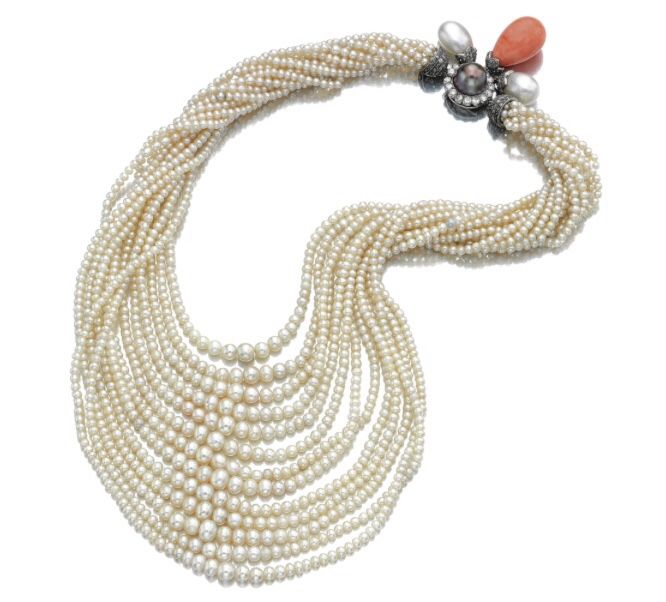 FROM THE COLLECTION OF DAISY FELLOWES - Pearl, coral and diamond necklace, Montu...