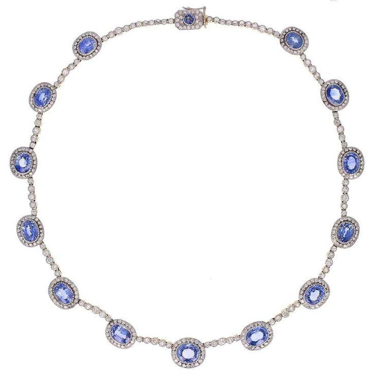 Fabergé Sapphire Diamond Gold Necklace For Sale