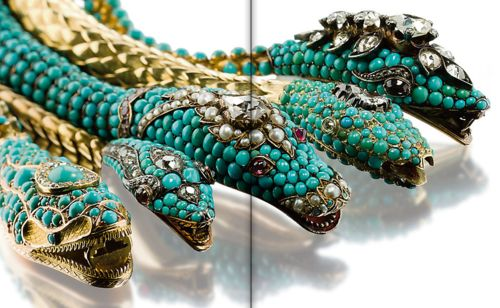 Five turquoise and diamond necklaces, mid-19th century. Estimated: $150,000 - $2...