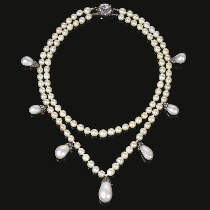 Magnificent natural pearl and diamond necklace, composed of two strands of natur...